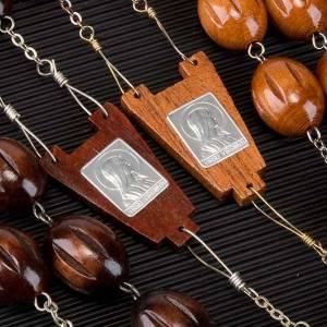 Rosario capoletto legno grano ovale inciso 25 mm s2