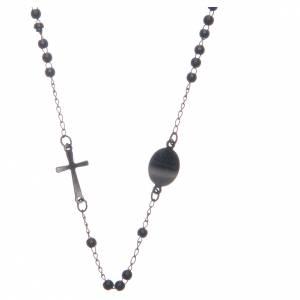 Rosarios metal: Rosario collar cuello redondo color negro de acero 316L