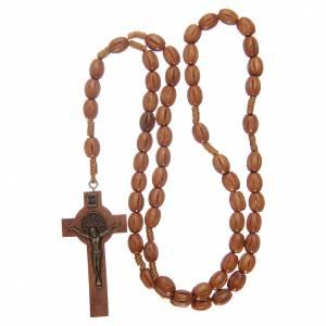 Rosario con grani in legno con croce legno S. Benedetto s4