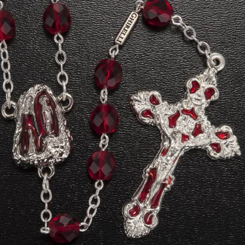 Rosario Ghirelli gruta Lourdes vidrio rojo rubí s2