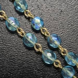 Rosario Ghirelli perline vetro azzurro Fatima 5 mm s5