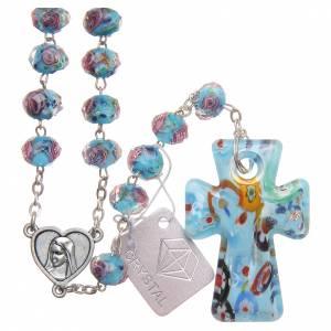 Rosarios y Porta Rosarios Medjugorje: Rosario Medjugorje cruz vidrio Murano azul celeste