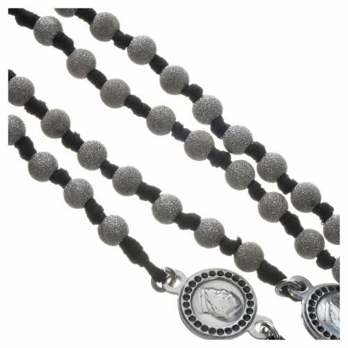 Rosario Papa Francesco argento 800 grani diamantati s4