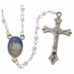 Rosari similperla: Rosario Papa Francesco imitazione perla bianca 4 mm