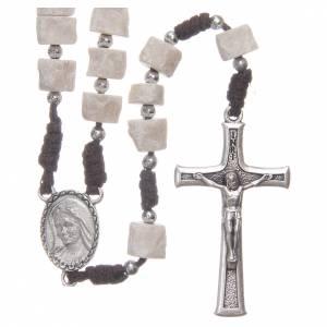 Rosario pietra bianca di Medjugorje con corda marrone s1