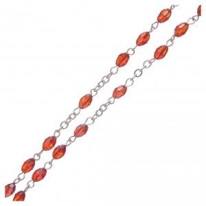 Rosario rubino in cristallo con croce e crociera in metallo ossidato s3