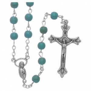 Rosari vetro: Rosario vetro color turchese grani 6 mm