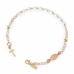 Rosary AMEN Bracelet Charm Cross pearls silver 925, Rosè finish s1