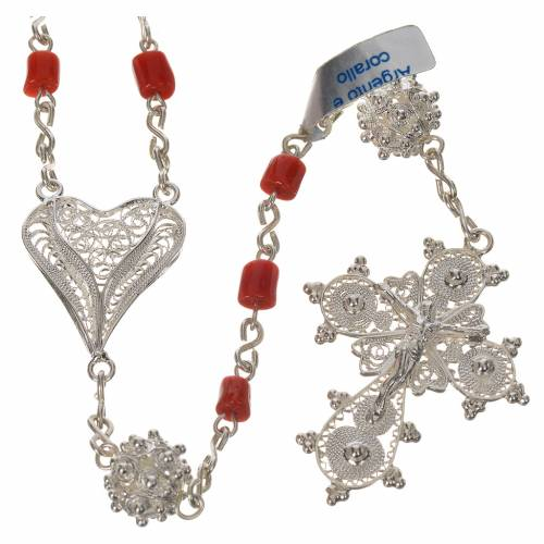 Rosary beads in 800 silver and coral s1