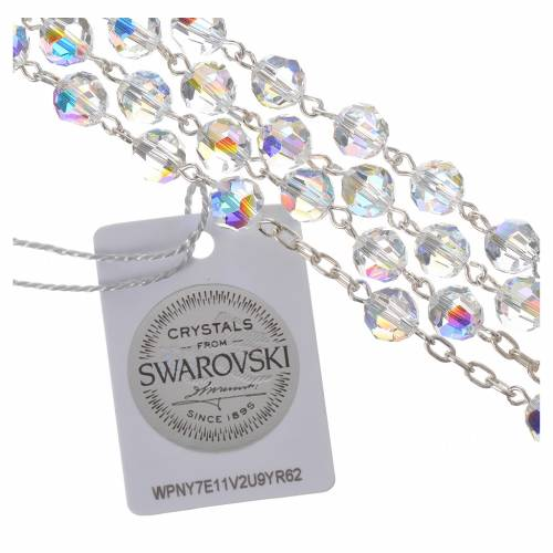 Rosary beads in 800 silver and Swarowski, 6mm Pax symbol medal s4