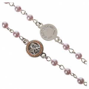 Rosary beads in 800 silver pink glass pearl, Guardian Angel s3