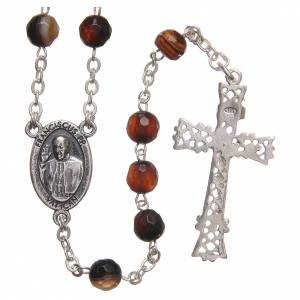 Silver rosaries: STOCK Rosary beads in Brazilian agate and sterling silver with Jubilee symbol 6mm brown