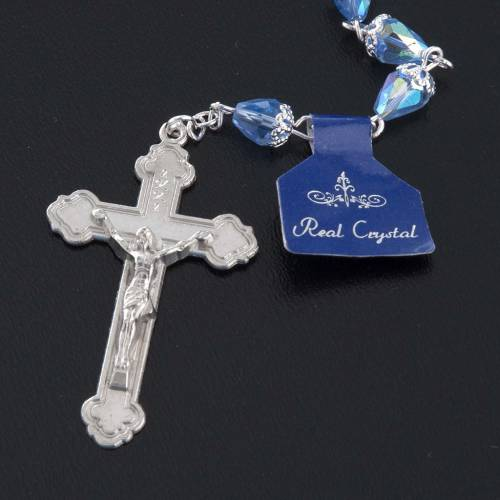 Rosary beads in crystal, with blue drops s5