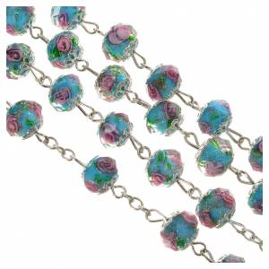 Rosary beads in light blue crystal with rose, 10mm s3