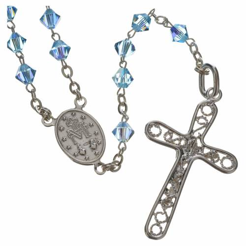 Rosary beads in silver and Swarovski 0,2in aqua 2