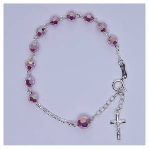Rosary bracelet with pink Swarowski crystals 6mm s3