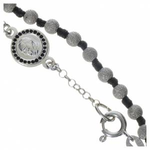 Silver bracelets: Rosary bracelet with Pope Francis in 800 silver, diamond grains