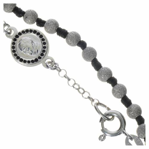 Rosary bracelet with Pope Francis in 800 silver, diamond grains s3