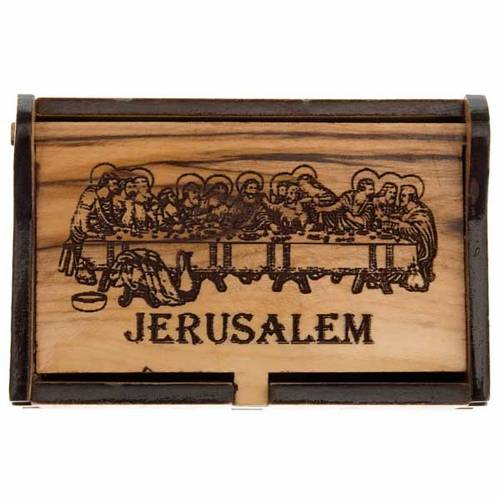Rosary case Jerusalem made of olive wood, The Last Supper s3