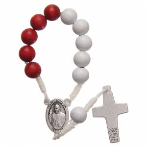Single decade rosaries: STOCK Rosary decade in red and white wood with Jubilee of Mercy symbol