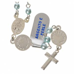 Rosary in 800 silver, light blue pearls and guardian angel s2