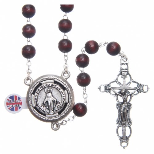 Rosary in burgundy wood with center piece, talking, Pope Francis prayer ENGLISH 8 mm s1