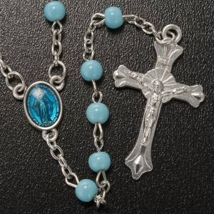 Rosary in light blue glass, Miraculous Madonna s2