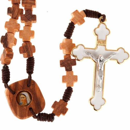 Rosary in olive wood with cross grains s1