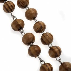 Assisi olive wood rosaries: Rosary in olive wood with Roman Basilicas medal 8mm