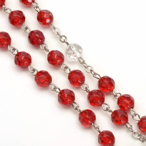 Rosary in red glass 6 mm s3