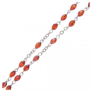 Rosary in ruby crystal with cross and center piece in oxidised metal s3