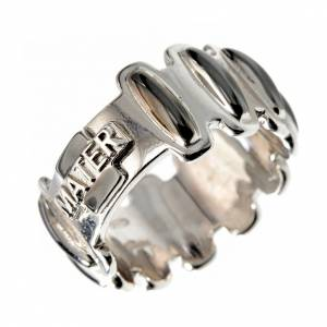 Rosary ring in burnished silver 925, MATER s1