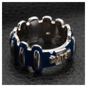 Prayer rings: Rosary ring in silver 925 with blue enamel, MATER