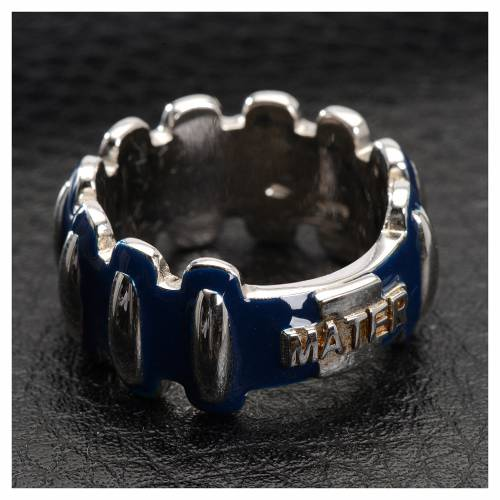 Rosary ring in silver 925 with blue enamel, MATER s2