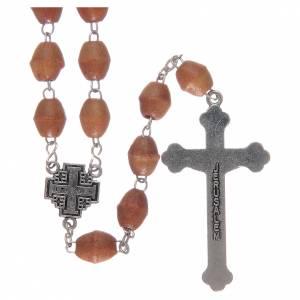 Rosary with Jerusalem center piece, Palestinian olive wood 8x6 m s2