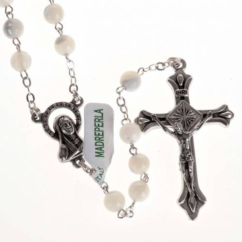 Rosary with mother of pearl bead, 6mm and Our Lady centerpiece s1