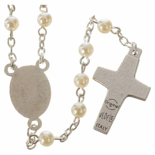 Rosary with Pope Francis, peal-like 5mm beads s2