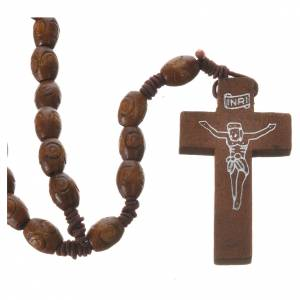 Rosary with wood and elastic 6x8mm s1