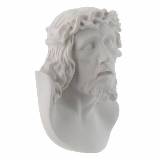 Rostro de Cristo de 10 cm en polvo de mármol de Carrara s2