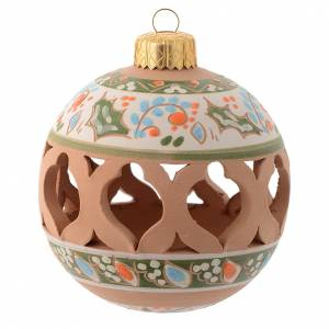 Christmas tree ornaments in wood and pvc: Round light blue Christmas bauble 80 mm