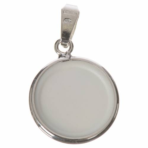 Round medal in silver, 18mm Guardian Angel s2