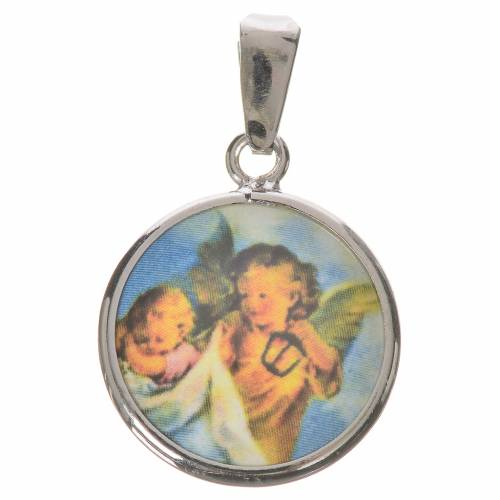 Round medal in silver, 18mm Guardian Angel s1