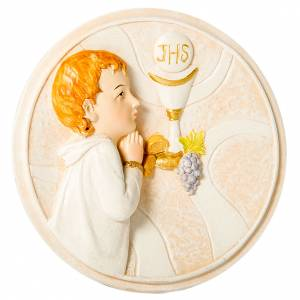 Bonbonnière: Round painting Boy First Communion 10cm