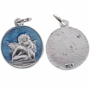 Medaillen: Runde Medaille mit Engel emailliert hellblau 2 cm