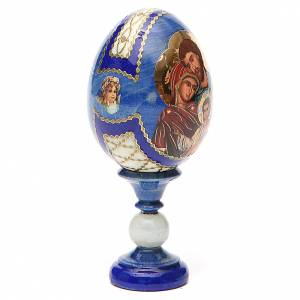 Russian Egg Holy Family Fabergè style, blue background 13cm s4