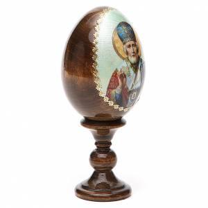 Russian Egg St. Nicholas green background découpage 13cm s4