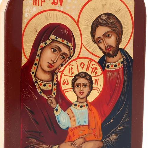 Russian icon, Holy Family 6x9 brown frame s4