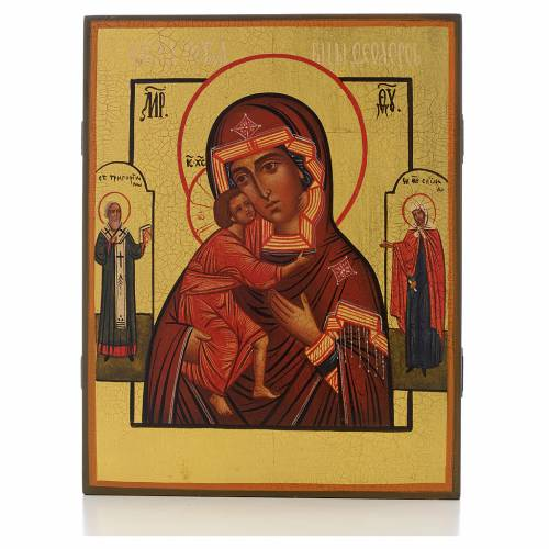 Russian Icon of the Mother of God Feodorowskaya with Saints s1