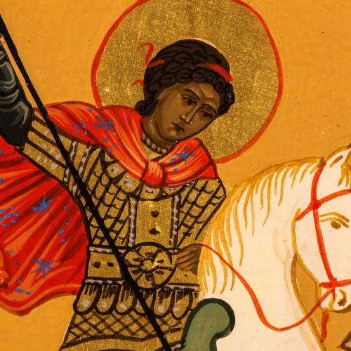 Russian icon St George and the dragon, painted 18x12 cm s2