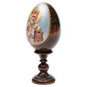 Handgemalte Russische Eier: Russiche Ei-Ikone Hl. Nikolaus 13cm Decoupage